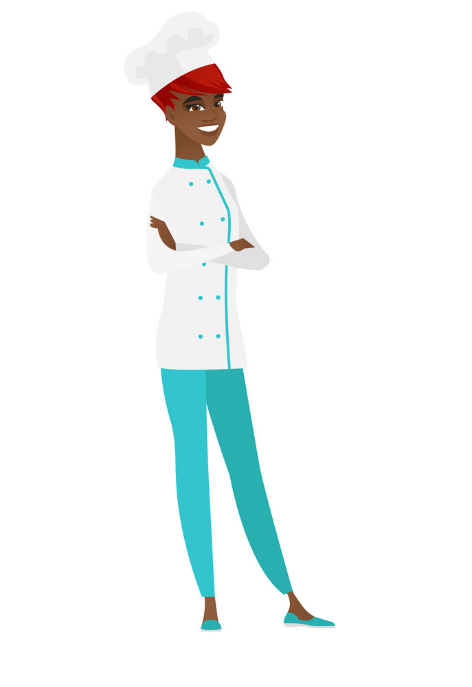 African-american confident chef cook in uniform. Confident chef cook with folded arms. Chef cook standing in a pose signifying confidence. Vector flat design illustration isolated on white background.