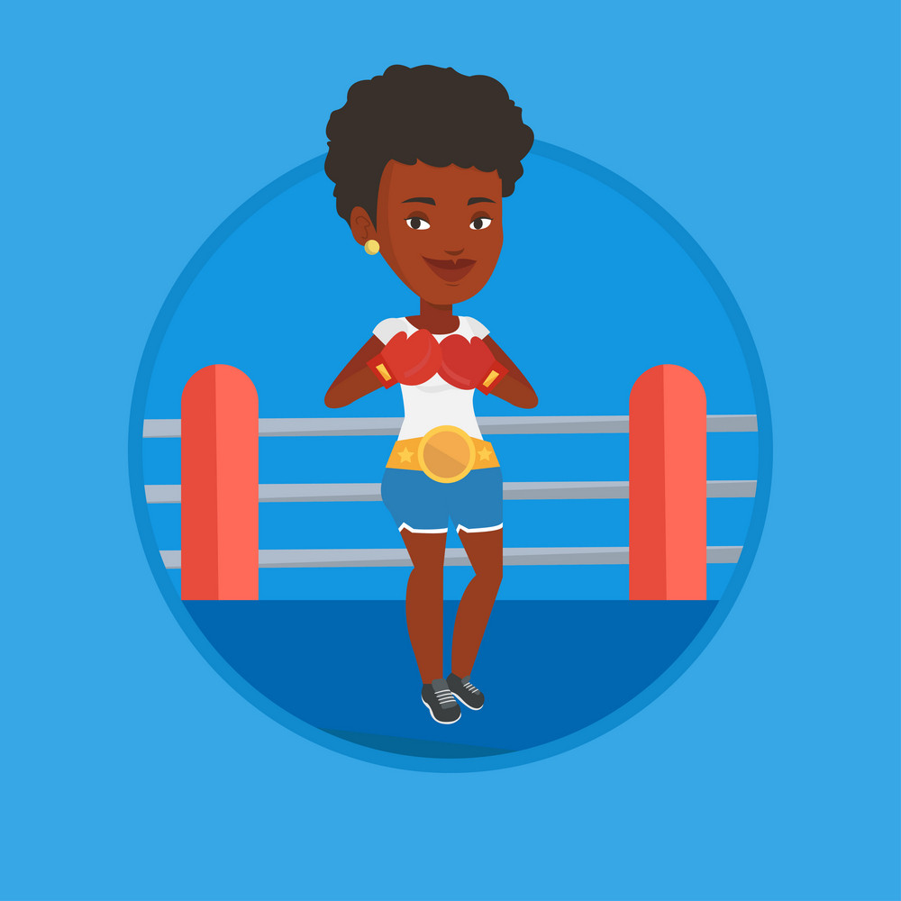 African-american confident sportswoman in boxing gloves. Boxer standing in the boxing ring. Sportswoman wearing red boxing gloves. Vector flat design illustration in the circle isolated on background.