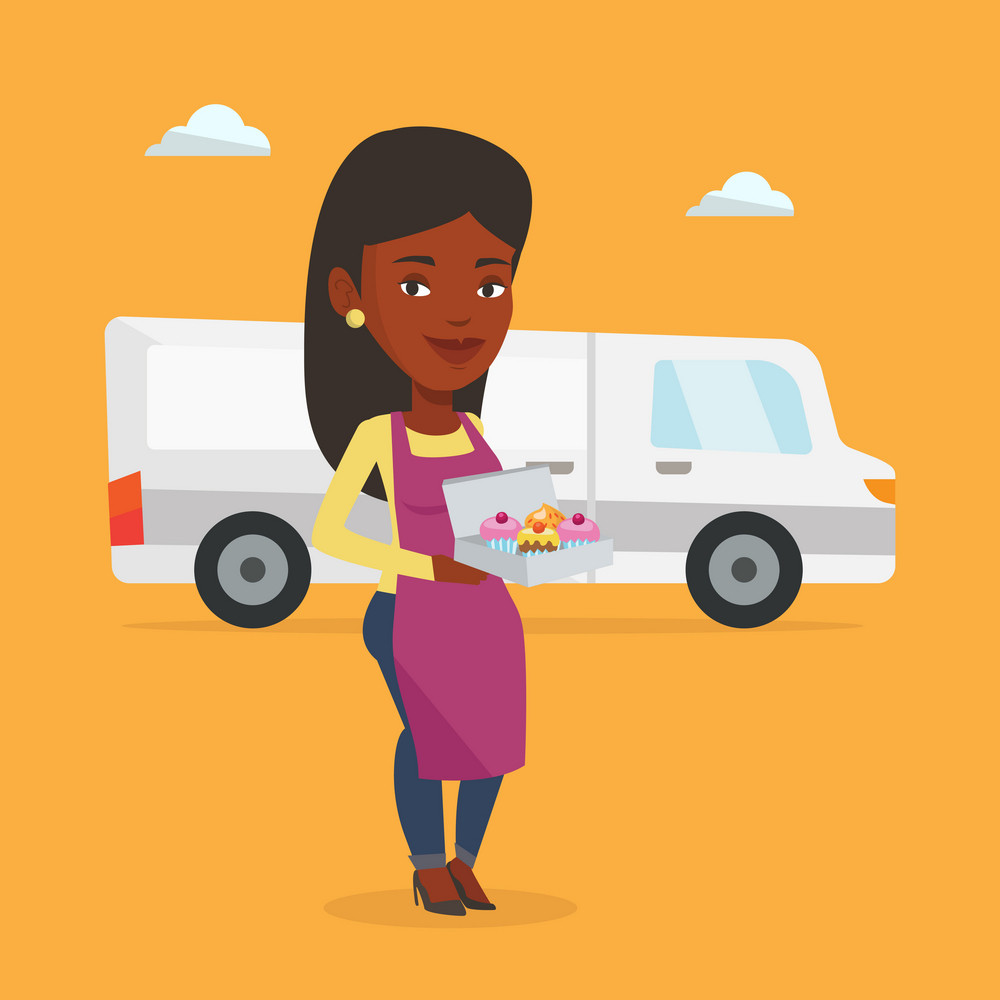 African-american delivery woman holding a box of cakes. Baker delivering cakes. Young woman with cupcakes standing on the background of delivery truck. Vector flat design illustration. Square layout.