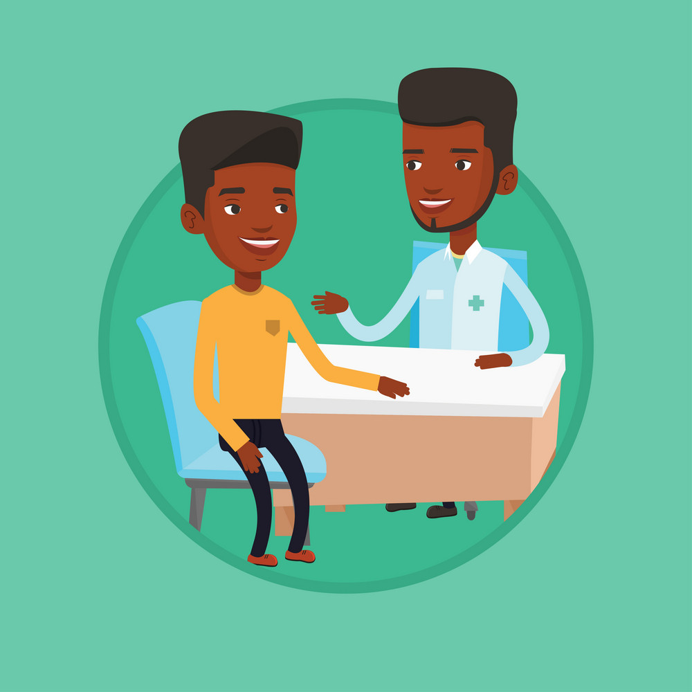 African-american doctor consulting patient. Doctor talking to patient. Doctor communicating with patient about his state of health. Vector flat design illustration in the circle isolated on background