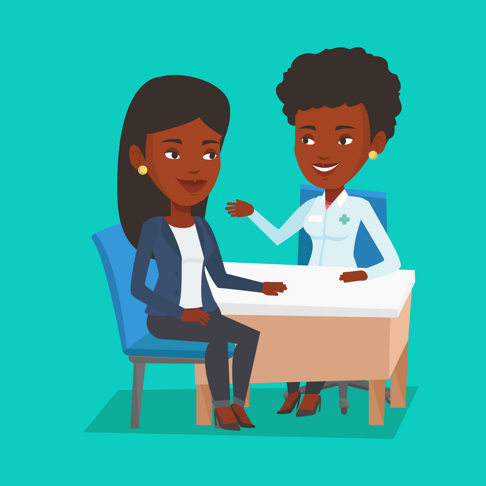 African-american doctor consulting patient in office. Doctor talking to smiling patient. Doctor communicating with patient about her state of health. Vector flat design illustration. Square layout.