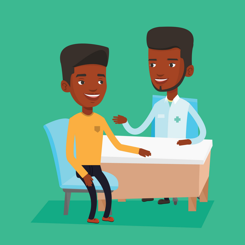 African-american doctor consulting patient in office. Doctor talking to smiling patient. Doctor communicating with patient about his state of health. Vector flat design illustration. Square layout.