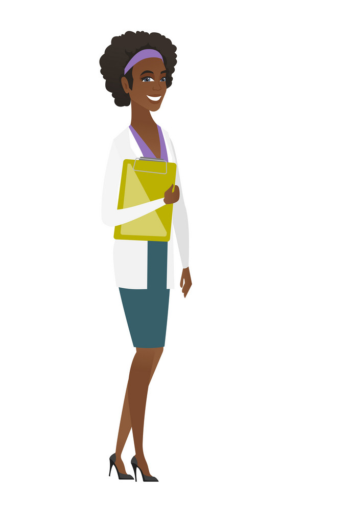 African-american doctor in medical gown holding clipboard with papers. Full length of doctor with papers. Young doctor holding papers. Vector flat design illustration isolated on white background.