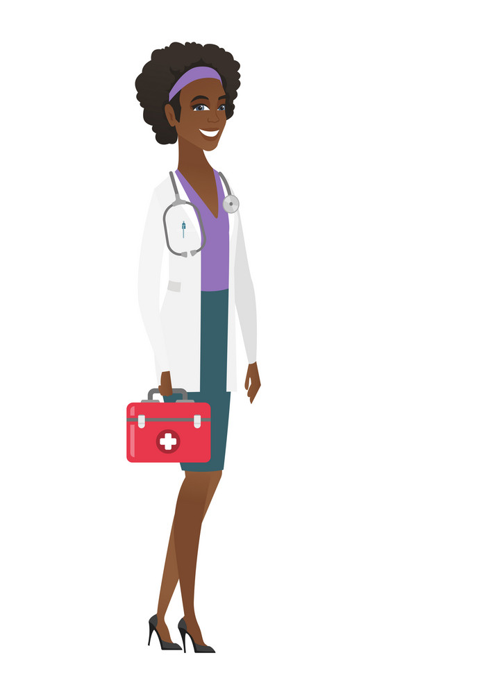 African-american doctor in medical gown holding first aid box. Friendly doctor standing with first aid kit. Doctor carrying first aid box. Vector flat design illustration isolated on white background.