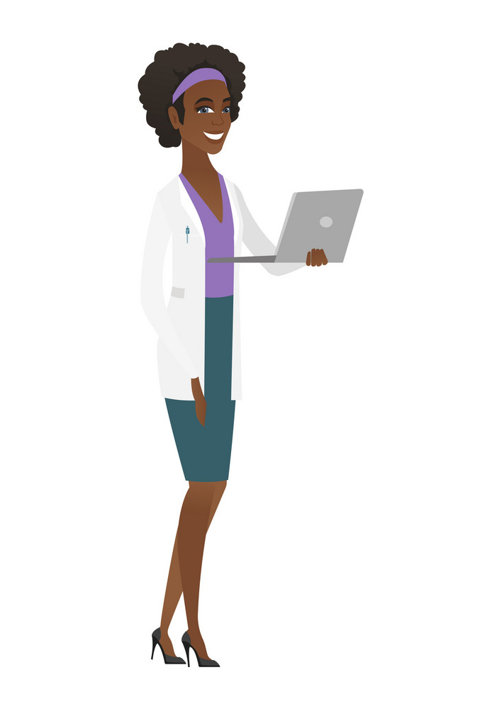 African-american doctor in medical gown using laptop. Full length of young doctor working on a laptop. Cheerful doctor holding a laptop. Vector flat design illustration isolated on white background.