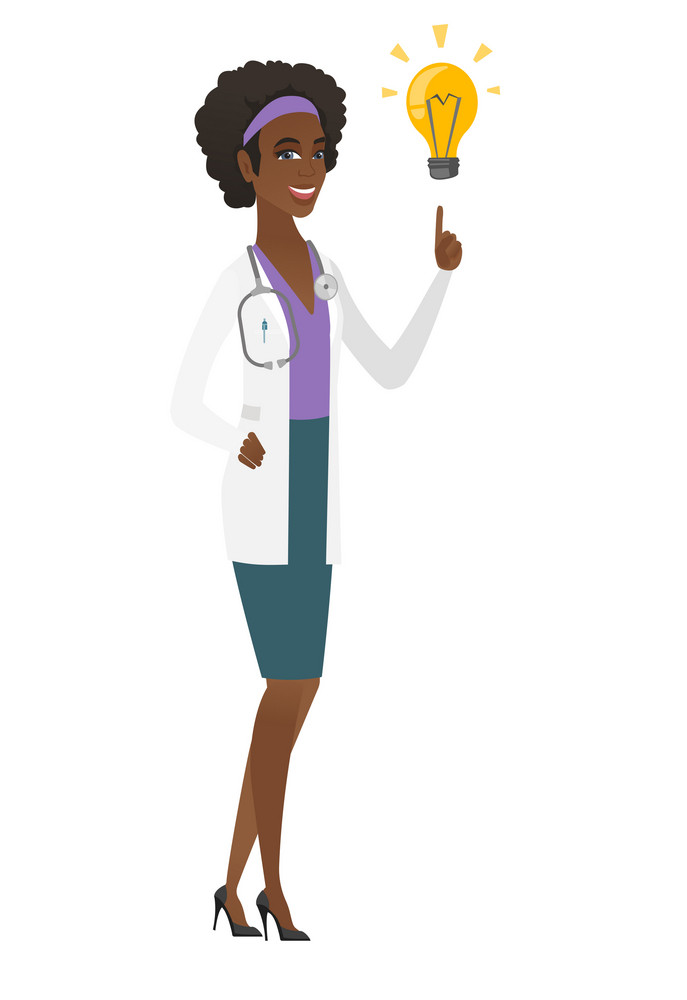 African-american doctor pointing at bright idea light bulb. Full length of doctor having a creative idea. Doctor came up with a great idea. Vector flat design illustration isolated on white background