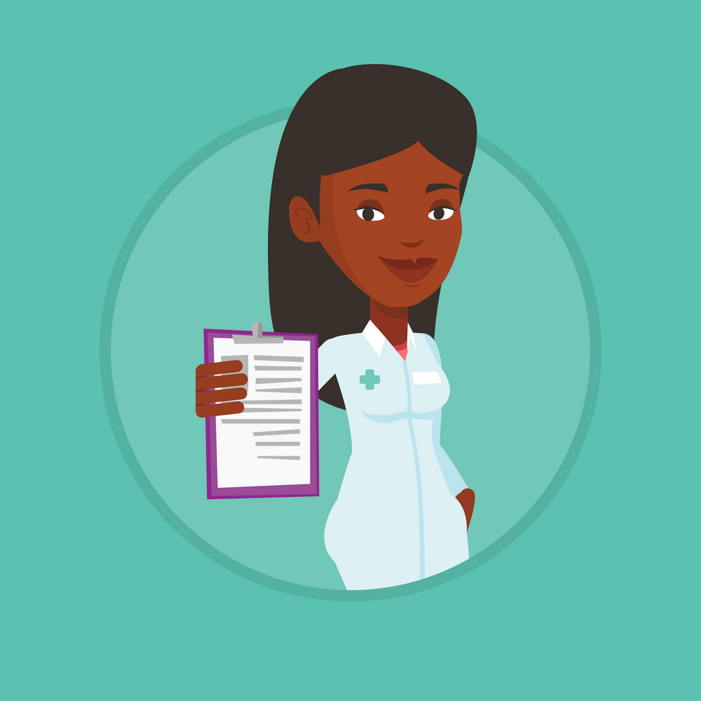 African-american doctor with patient records. Doctor showing clipboard with prescription. Doctor in medical gown holding clipboard. Vector flat design illustration in the circle isolated on background
