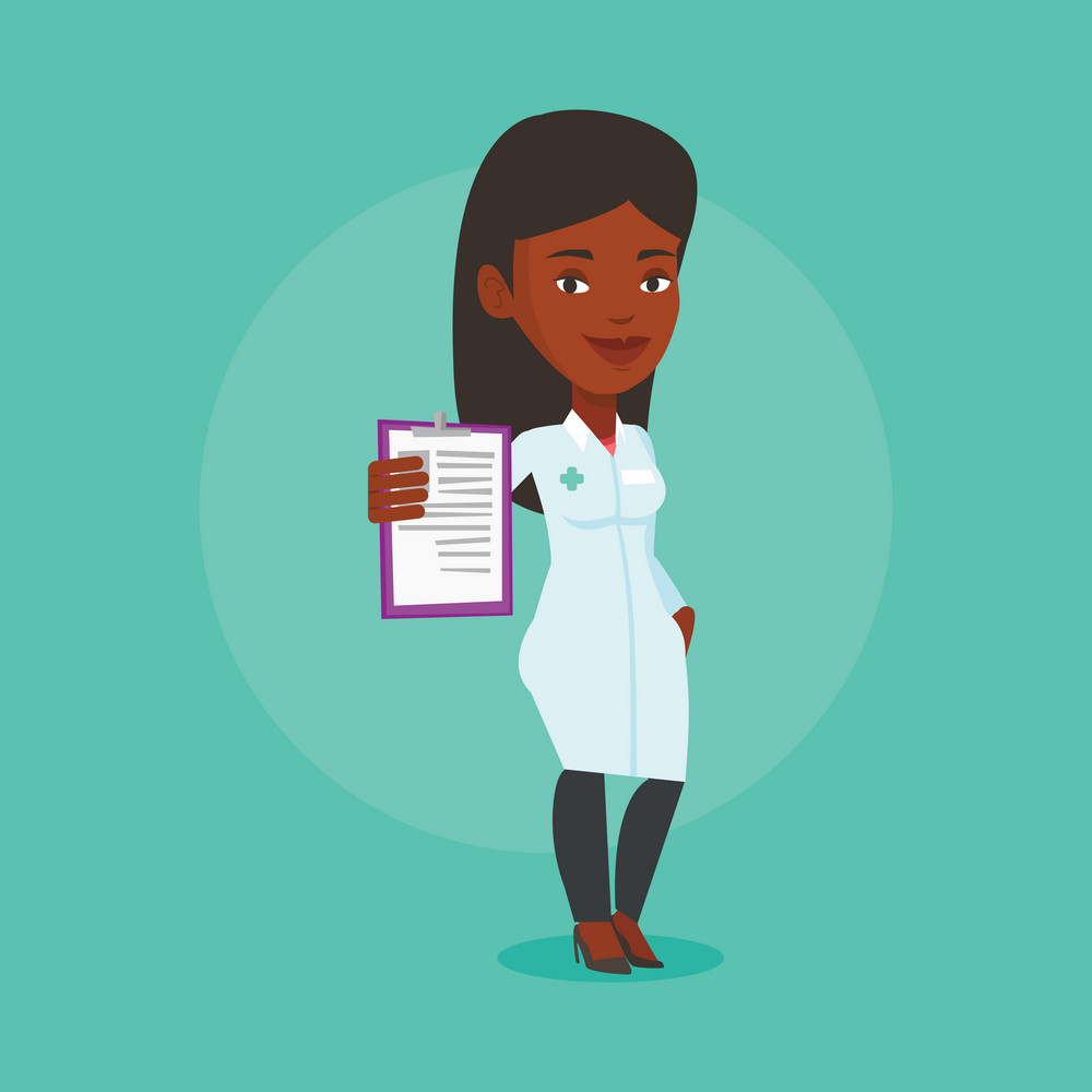 African-american doctor with patient records. Young female doctor showing clipboard with prescription. Female doctor in medical gown holding clipboard. Vector flat design illustration. Square layout.