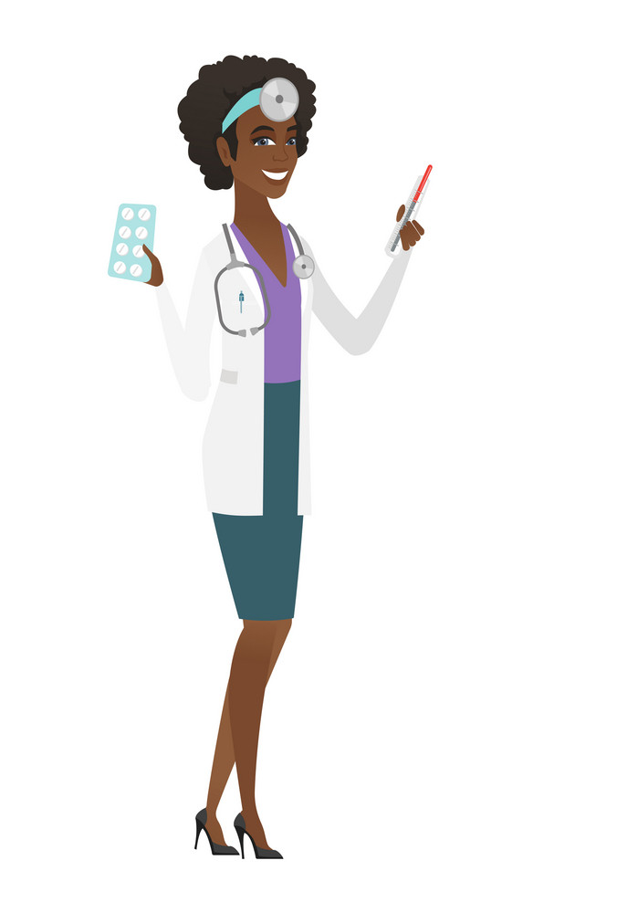 African-american doctor with stethoscope holding thermometer and plate of pills. Young happy doctor with thermometer and plate of pills. Vector flat design illustration isolated on white background.