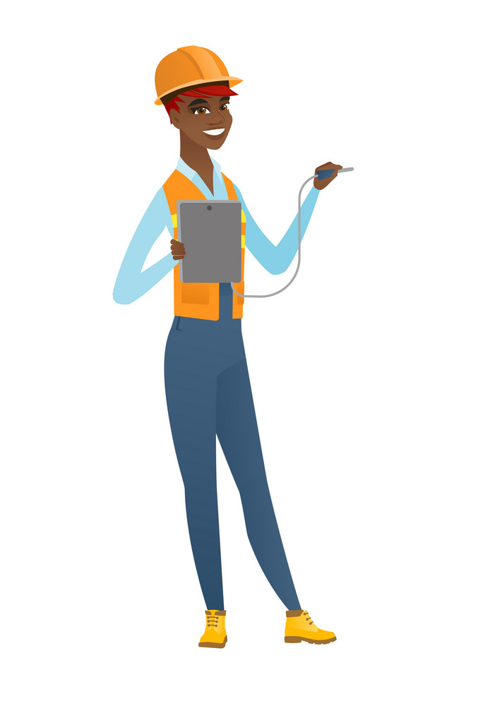 African-american electrician in hard hat measuring the voltage output. Electrician holding equipment for measuring of voltage and current. Vector flat design illustration isolated on white background.