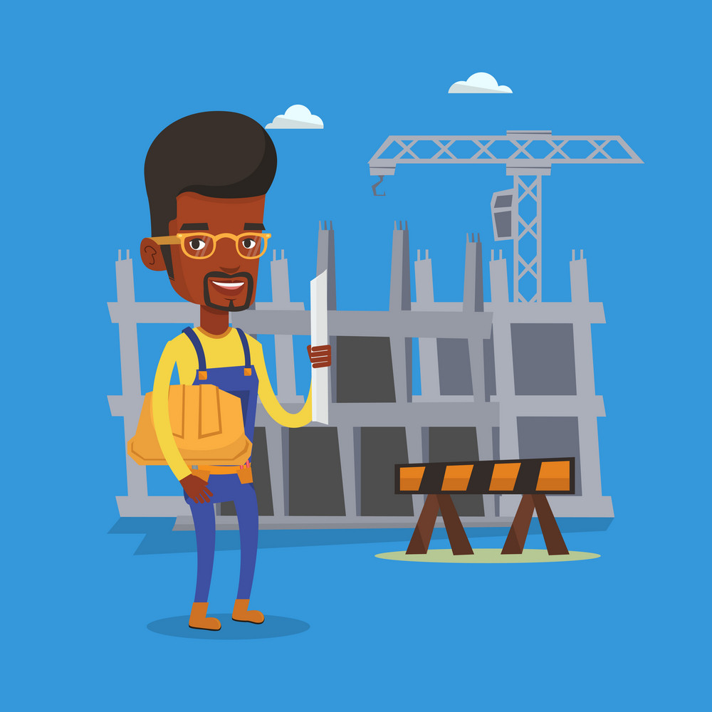 African-american engineer with a blueprint at construction site. Engineer holding hard hat and twisted blueprint. Engineer checking construction works. Vector flat design illustration. Square layout.