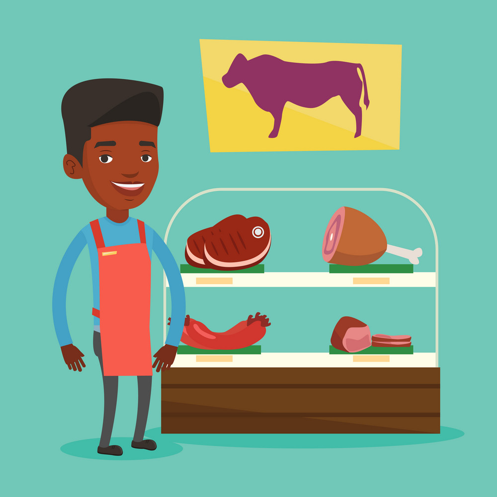 African-american female butcher offering meat in butchery. Butcher at work at the counter in butchery. Butcher standing on the background of storefront. Vector flat design illustration. Square layout.