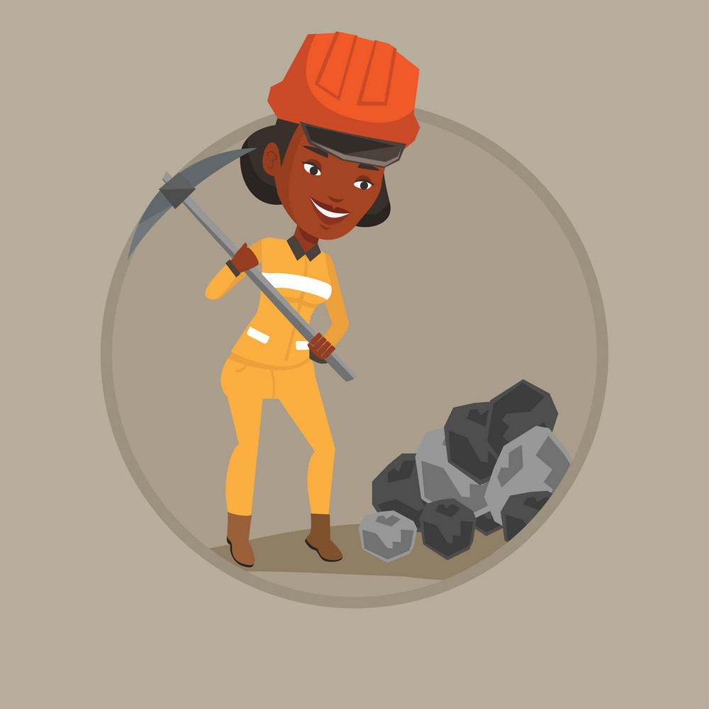 African-american female miner in hard hat working with pickaxe. Female miner working at the coal mine. Young female miner at work. Vector flat design illustration in the circle isolated on background.