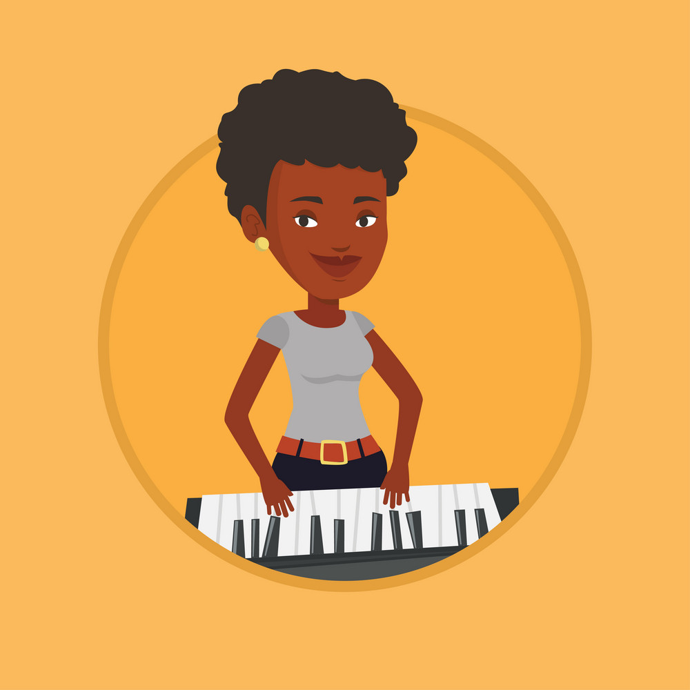 African-american female pianist playing on synthesizer. Young smiling musician playing piano. Pianist playing upright piano. Vector flat design illustration in the circle isolated on background.