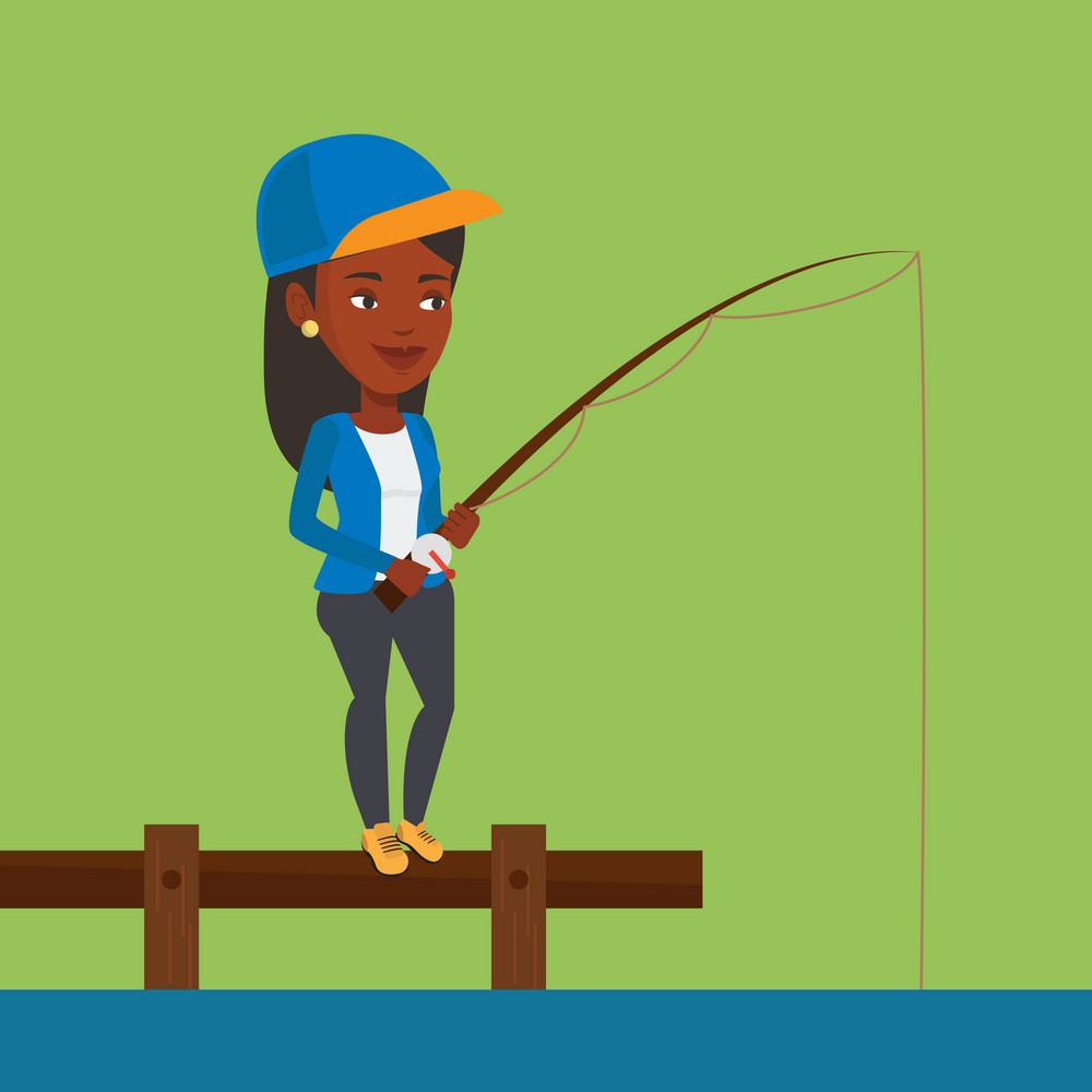 African-american fisherwoman fishing on the lake. Woman relaxing during fishing on jetty. Smiling angler standing on jetty with fishing rod in hands. Vector flat design illustration. Square layout.