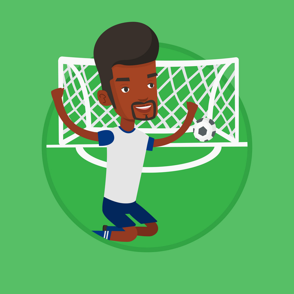 African-american football player celebrating scoring goal. Football player kneeling on the background of football gate with ball. Vector flat design illustration in the circle isolated on background.