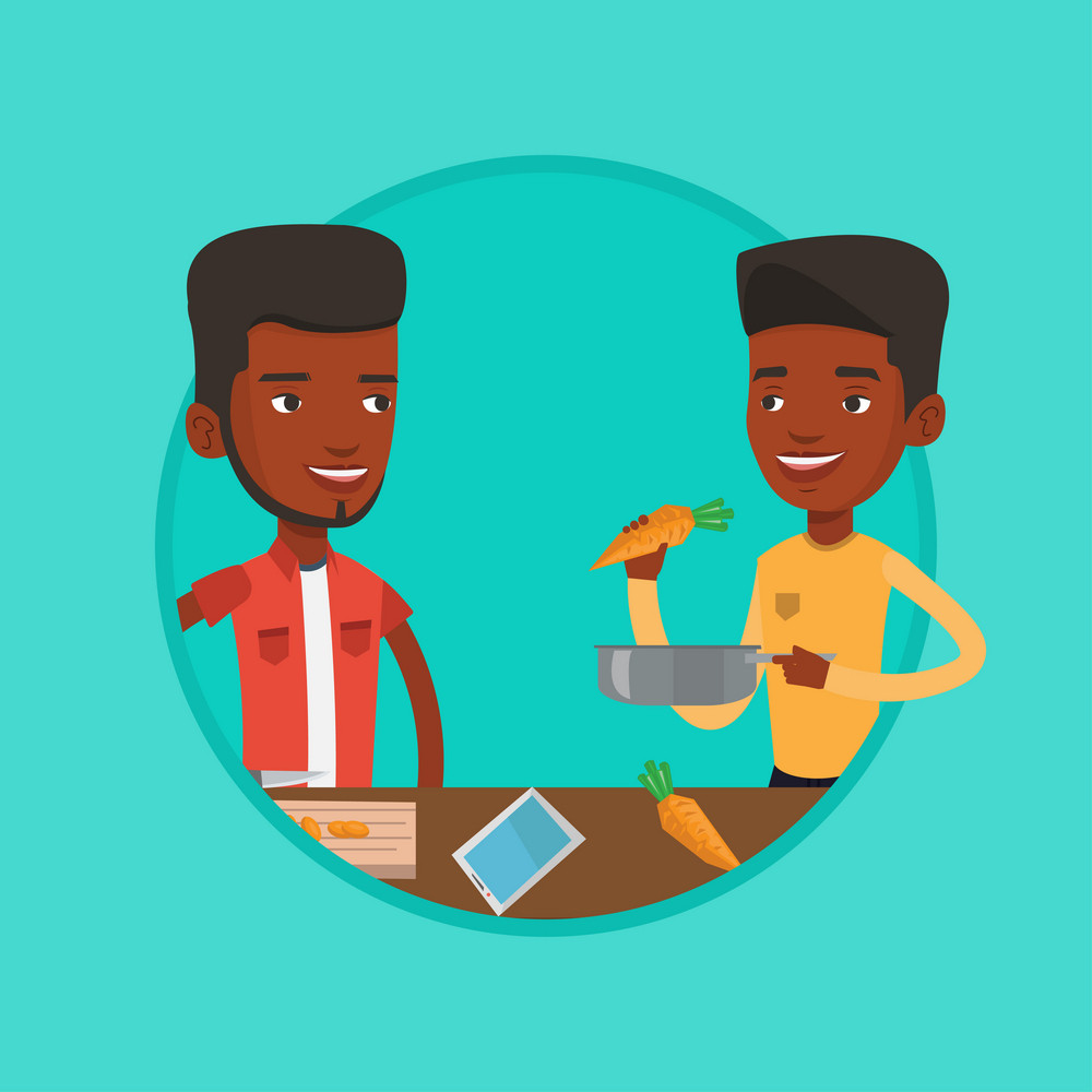 African-american friends cooking healthy vegetable meal. Friends cooking together lunch. Young friends preparing vegetable meal. Vector flat design illustration in the circle isolated on background.