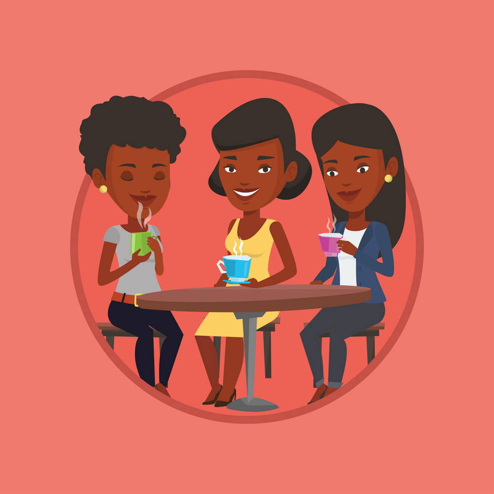 African-american friends drinking hot and alcoholic drinks. Three friends hanging out together in a cafe. Friends relaxing in cafe. Vector flat design illustration in the circle isolated on background