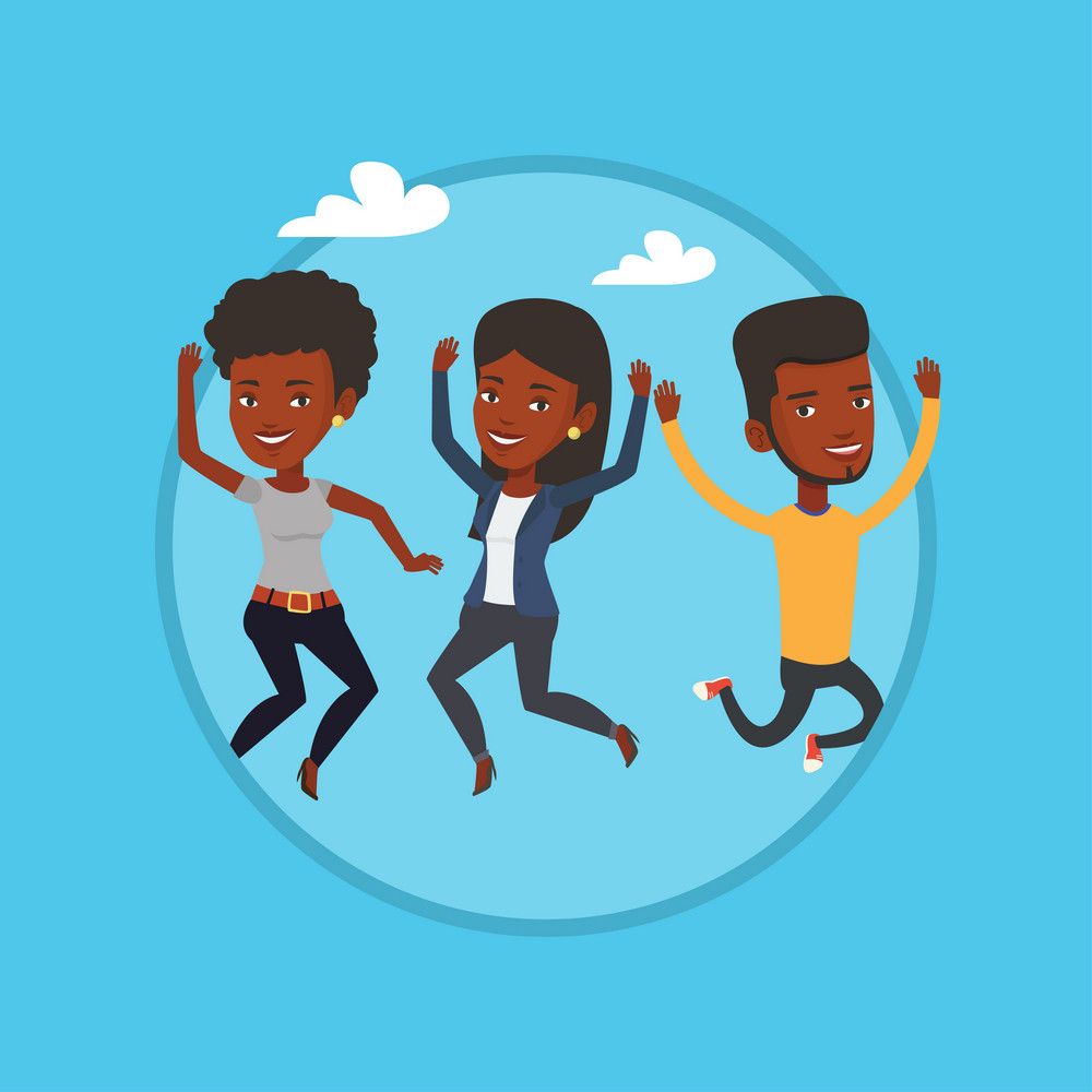 African-american friends jumping in the park. Group of friends having fun and jumping outdoors. Friendship and lifestyle concept. Vector flat design illustration in the circle isolated on background.