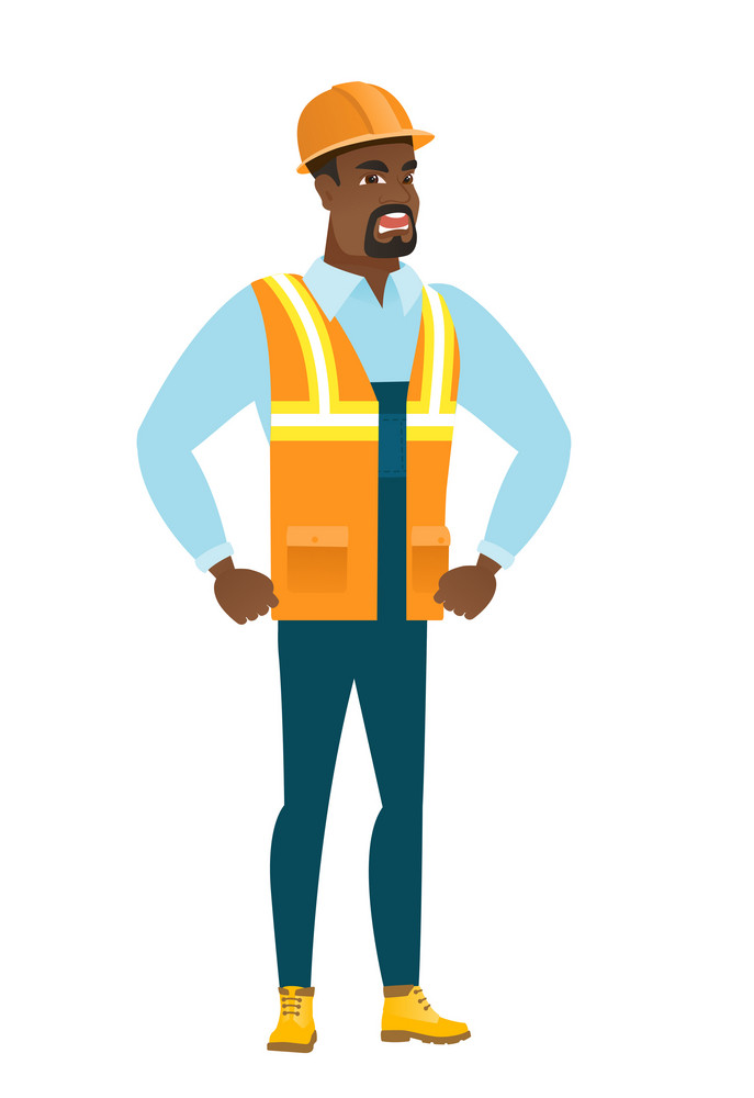 African-american furious builder in hard hat screaming. Full length of furious builder shouting. Illustration of furious builder yelling. Vector flat design illustration isolated on white background.