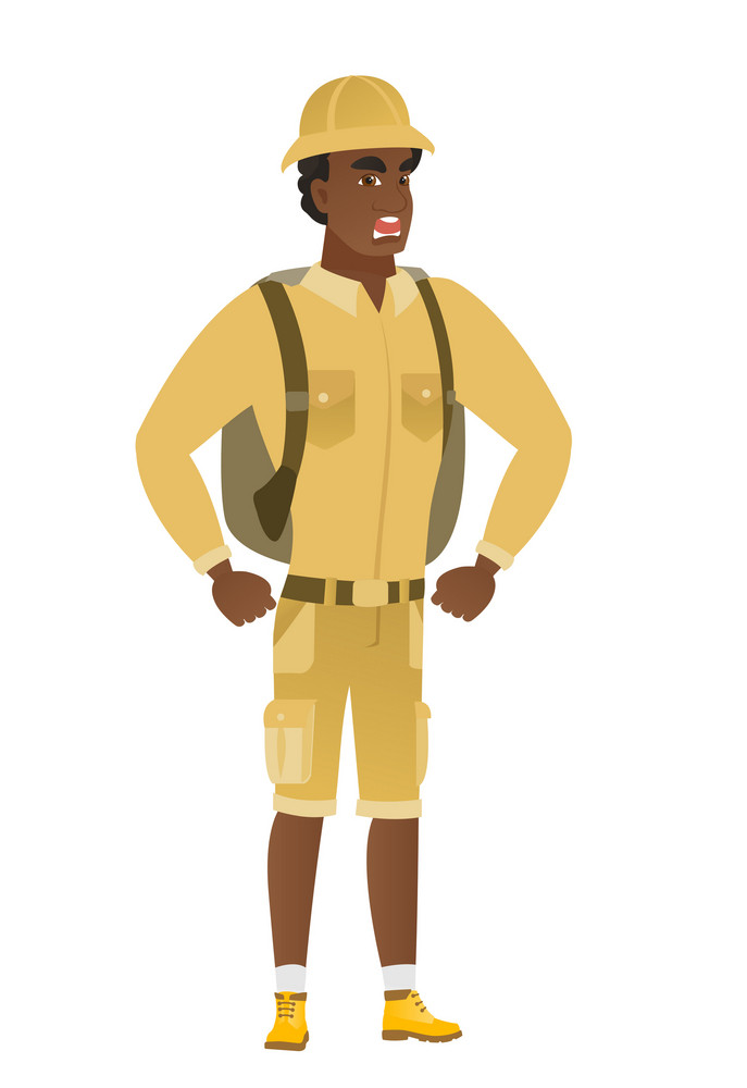 African-american furious traveler screaming. Full length of furious traveler shouting. Illustration of young furious traveler yelling. Vector flat design illustration isolated on white background.