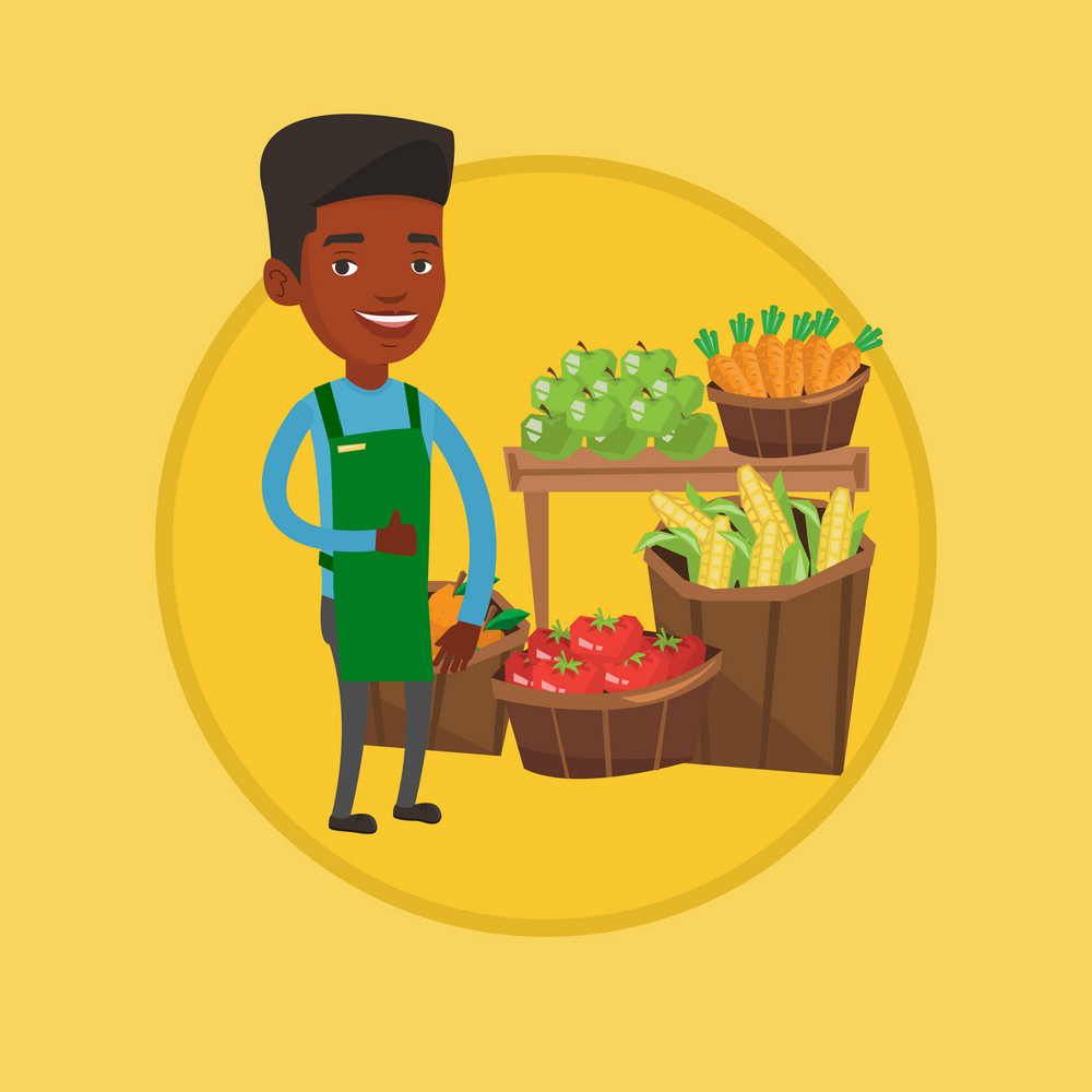 African-american greengrocer giving thumb up. Greengrocer standing on the background of shelves with fresh vegetables and fruits. Vector flat design illustration in the circle isolated on background.