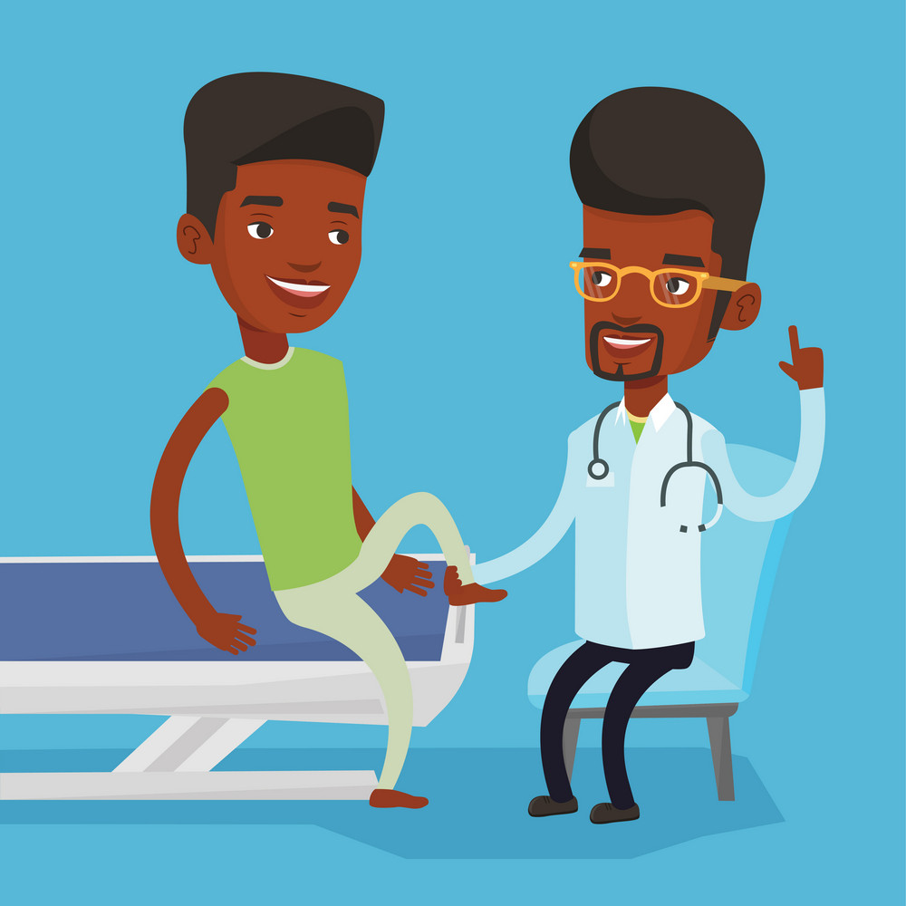 African-american gym doctor checking ankle of a patient. Physio therapist examining leg of sportsman. Physio therapist giving a leg massage to patient. Vector flat design illustration. Square layout.