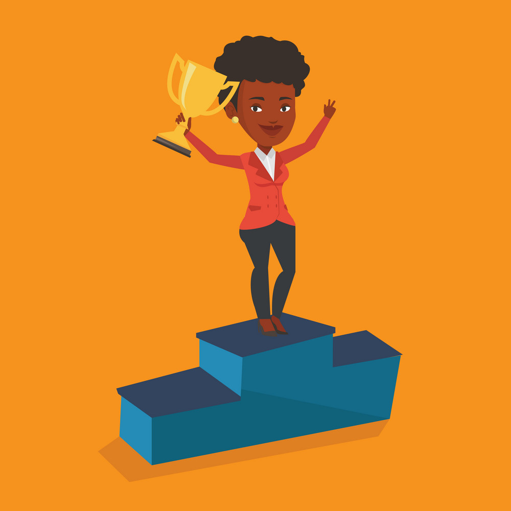 African-american happy businesswoman with business award standing on a pedestal. Businesswoman celebrating her business award. Business award concept. Vector flat design illustration. Square layout.
