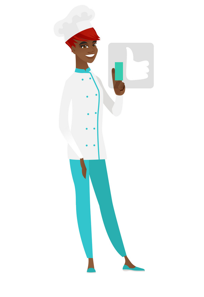 African-american happy chef cook pressing modern social network like button with thumb up. Young cheerful chef cook pressing like button. Vector flat design illustration isolated on white background.