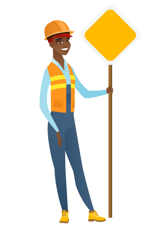 African-american happy smiling road worker showing road sign. Full length of young cheerful female road worker standing near road sign. Vector flat design illustration isolated on white background.