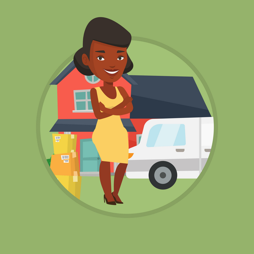 African-american homeowner unloading cardboard boxes. Homeowner standing in front of new home. New homeowner moving to a house. Vector flat design illustration in the circle isolated on background.