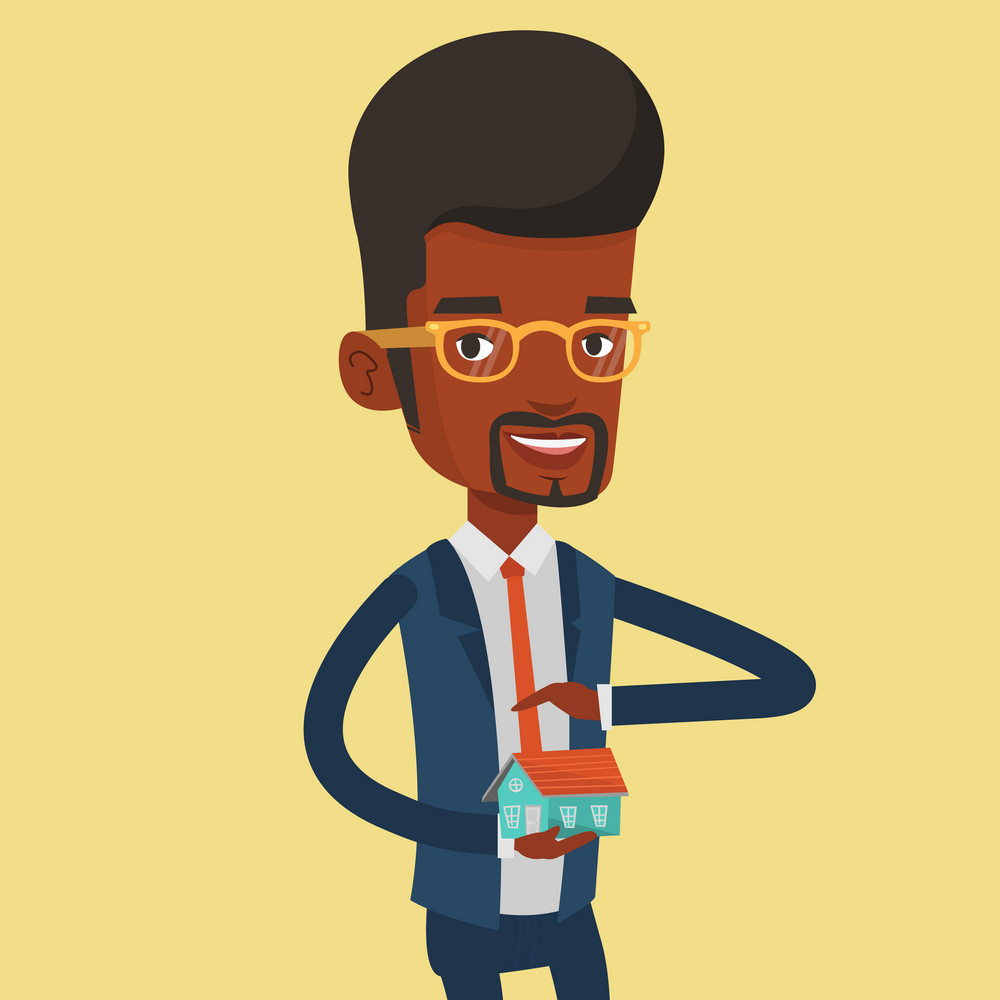 African-american insurance agent holding house model. Insurance agent protecting model of the house. Man insuring house. Property insurance concept. Vector flat design illustration. Square layout.