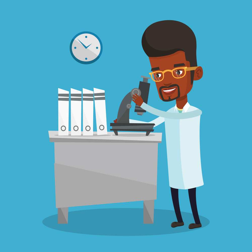 African-american laboratory assistant working with microscope. Young male scientist working in the laboratory. Laboratory assistant using a microscope. Vector flat design illustration. Square layout.