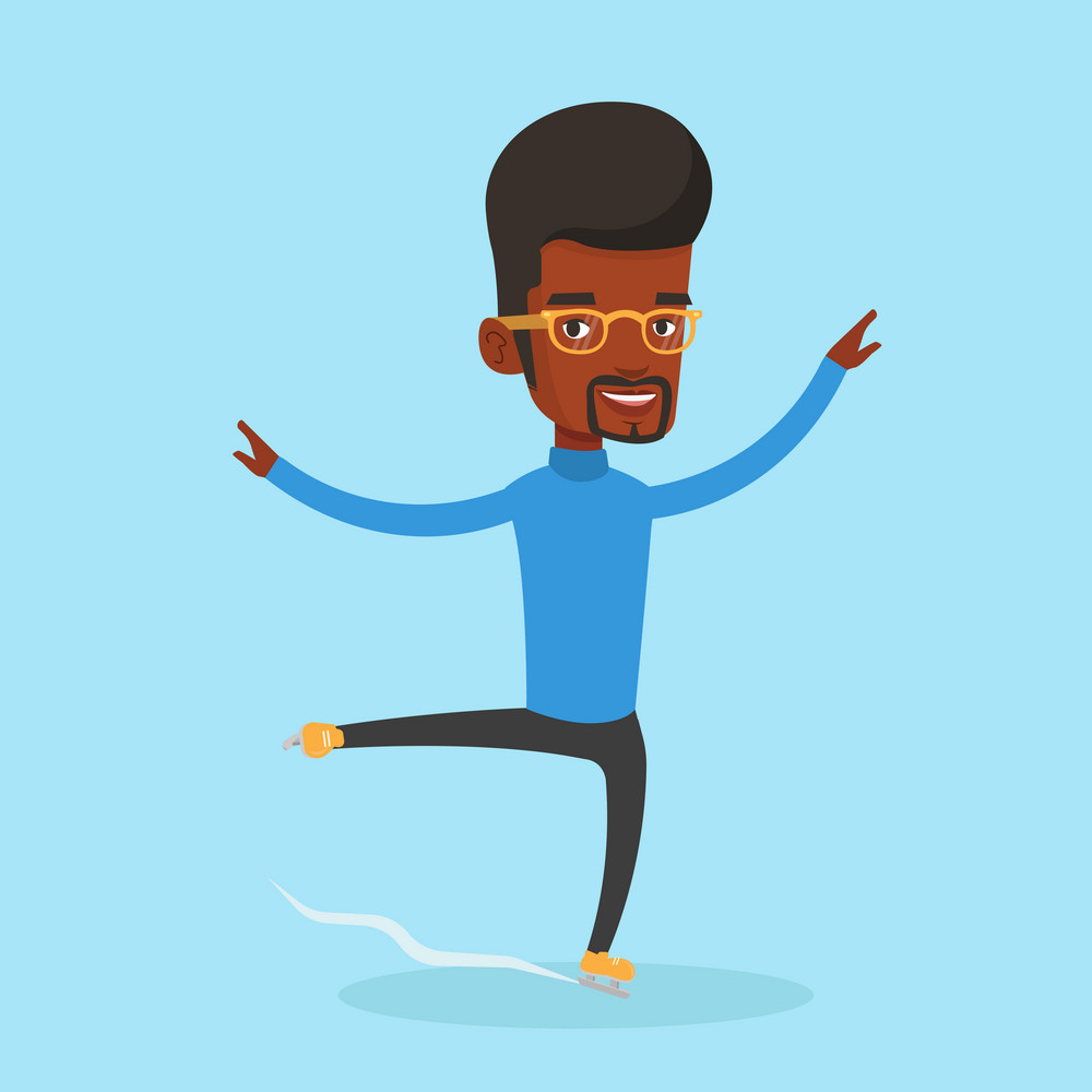 African-american male figure skater posing on skates. Professional male figure skater performing on ice skating rink. Young smiling ice skater dancing. Vector flat design illustration. Square layout.