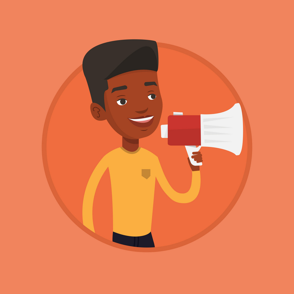 African-american male promoter holding a megaphone. Young male promoter speaking into a megaphone. Social media marketing concept. Vector flat design illustration in the circle isolated on background.