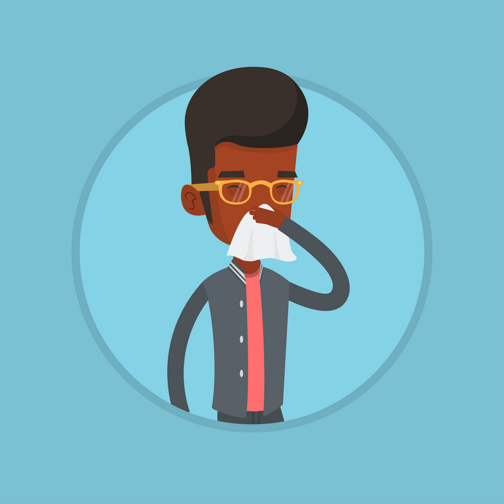African-american man blowing his nose to paper napkin. Sick man sneezing. Man having an allergy and blowing his nose to a tissue. Vector flat design illustration in the circle isolated on background.
