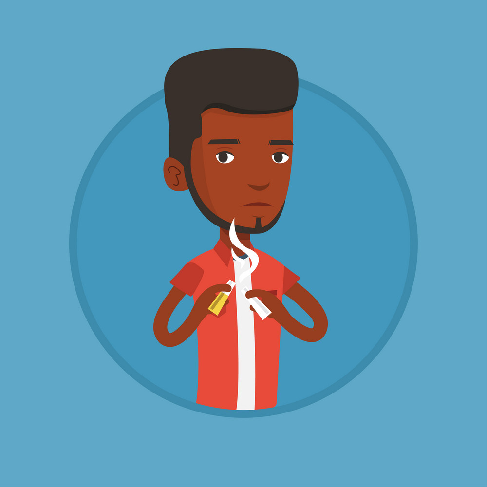 African-american man breaking the cigarette. Young man crushing cigarette. Man holding broken cigarette. Quit smoking concept. Vector flat design illustration in the circle isolated on background.