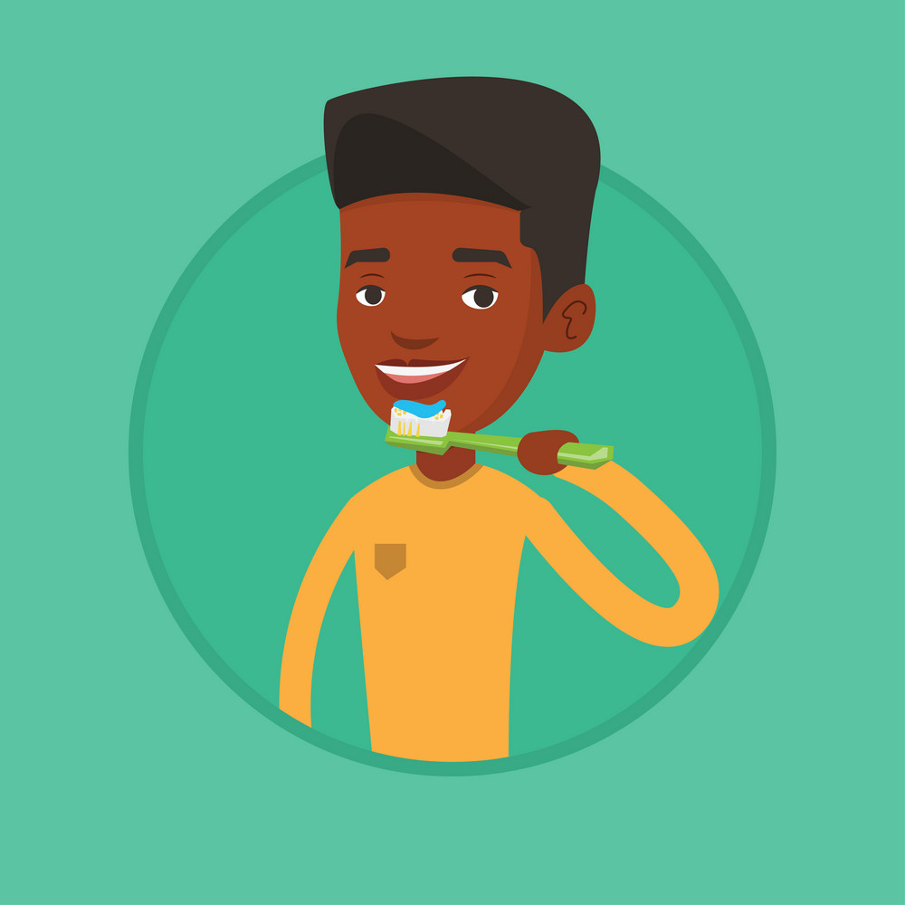 African-american man brushing his teeth. Smiling man cleaning teeth. Man taking care of his teeth. Guy with toothbrush in hand. Vector flat design illustration in the circle isolated on background.