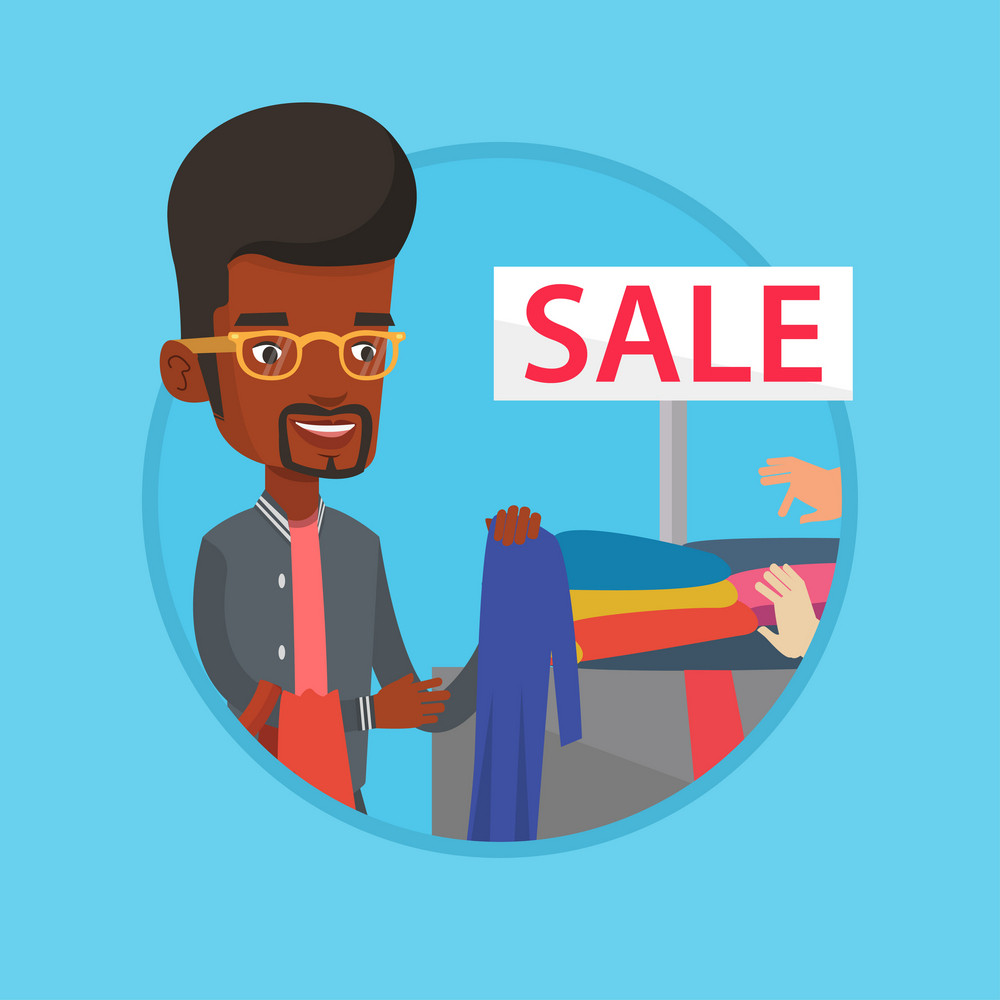 African-american man choosing clothes in shop on sale. Man buying clothes at store on sale. Man shopping in clothes shop on sale. Vector flat design illustration in the circle isolated on background.