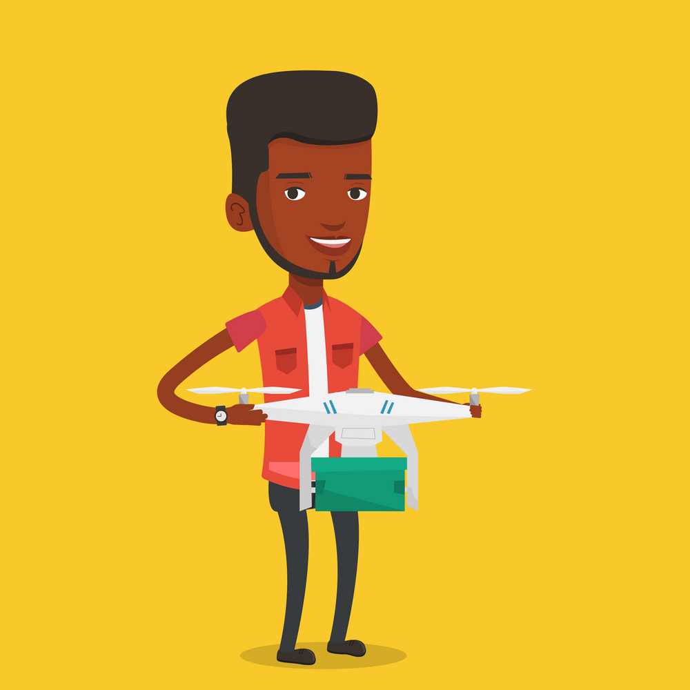 African-american man controlling delivery drone with post package. Man getting post package from delivery drone. Man sending parcel with delivery drone. Vector flat design illustration. Square layout.