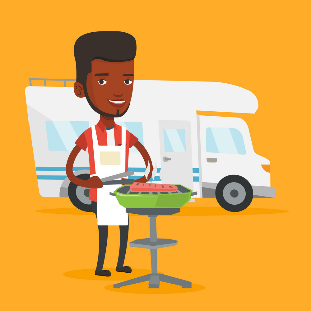 African-american man cooking steak on the barbecue grill on the background of camper van. Young man travelling by camper van and having barbecue party. Vector flat design illustration. Square layout.