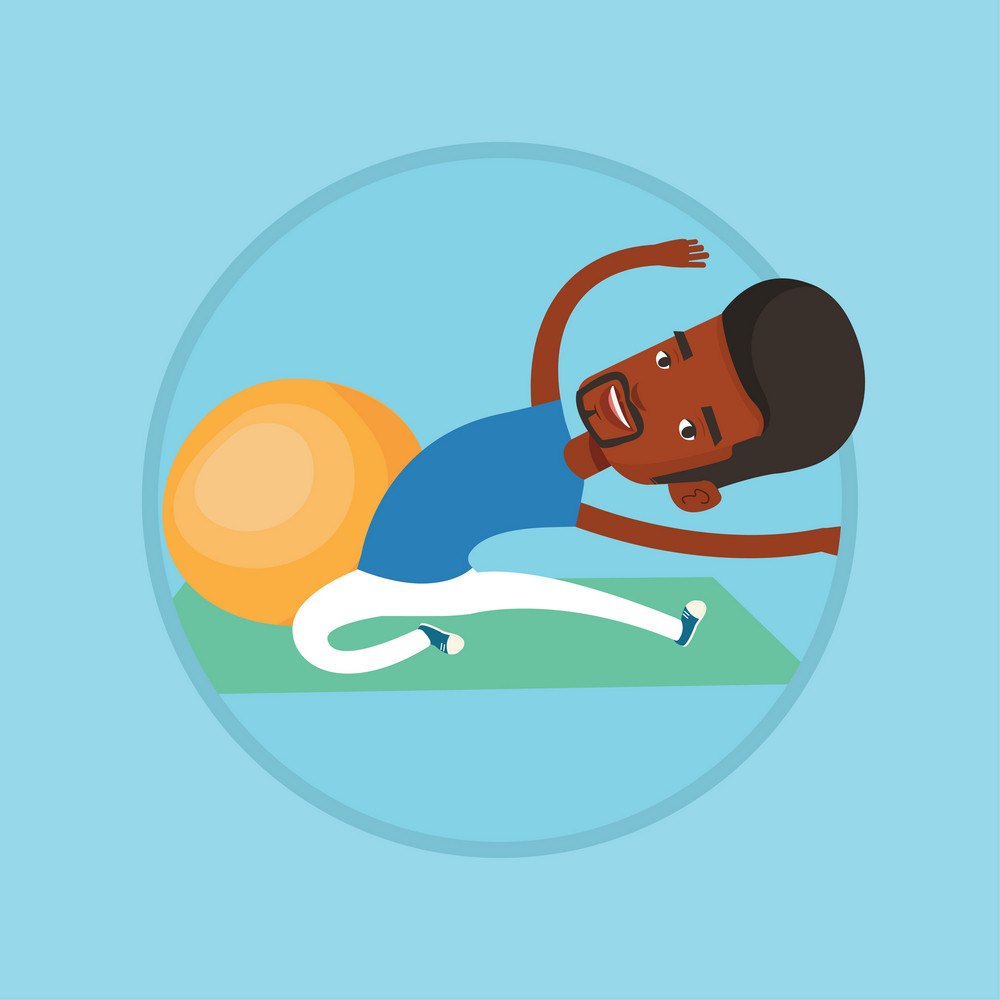 African-american man doing stretching on exercise mat. Sportsman stretching before training. Sportsman doing stretching exercises. Vector flat design illustration in the circle isolated on background.