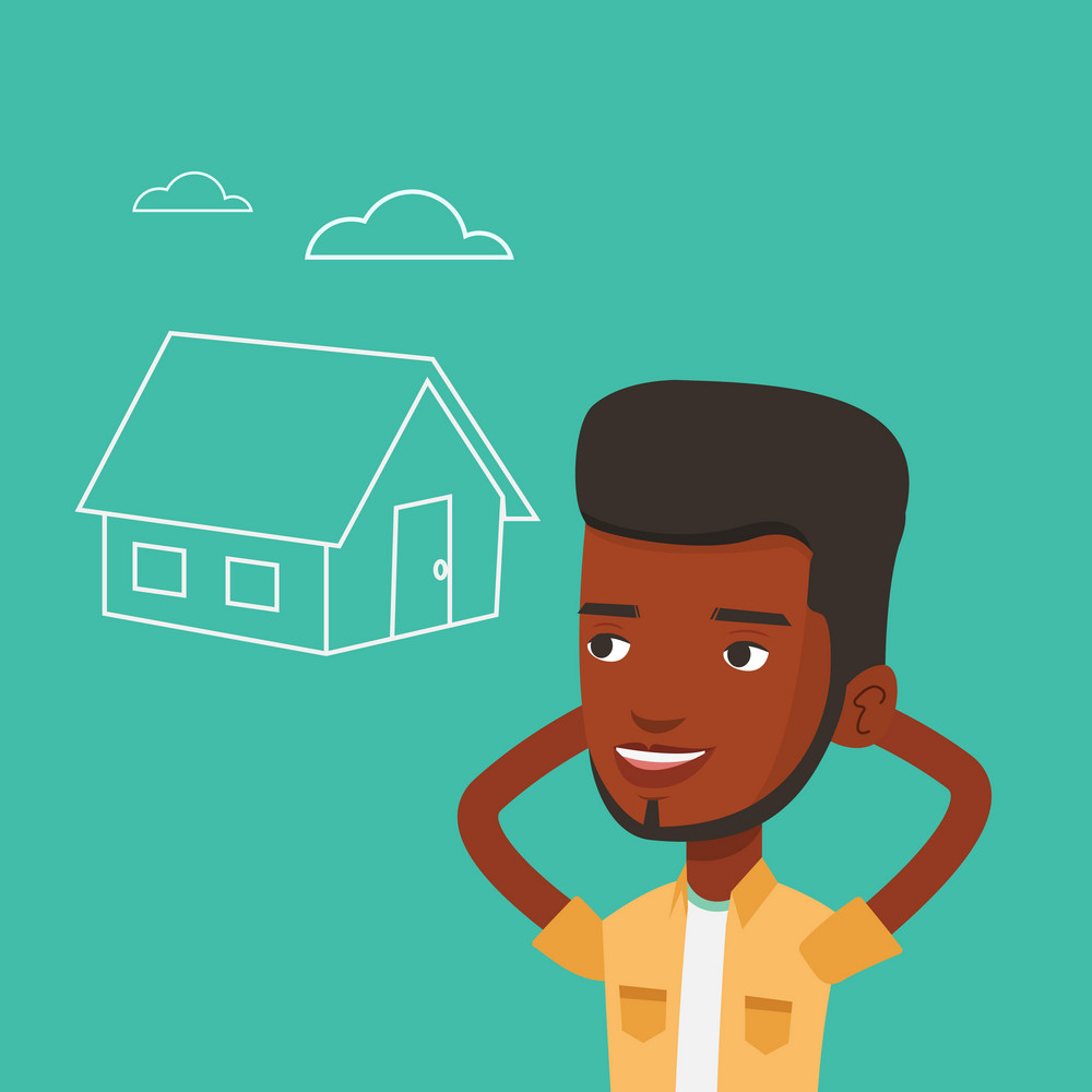 African-american man dreaming about future life in a new house. Smiling man planning his future purchase of house. Man thinking about buying a house. Vector flat design illustration. Square layout.