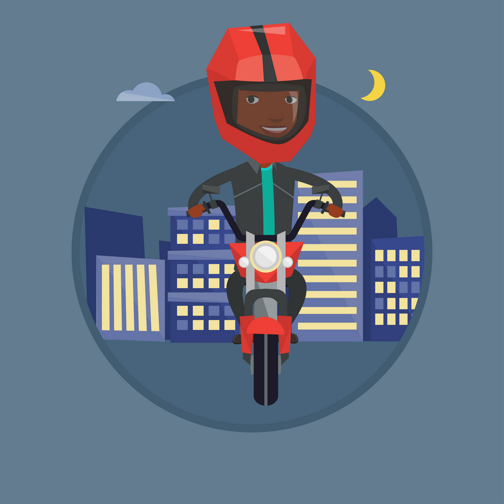 African-american man driving a motorbike on a city road at night. Man in helmet riding a motorbike on the background of night city. Vector flat design illustration in the circle isolated on background