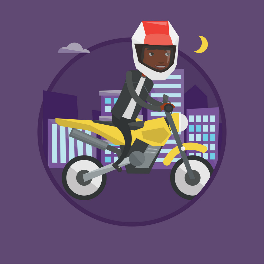 African-american man driving a motorcycle on city road at night. Man in helmet riding a motorcycle on the background of night city. Vector flat design illustration in circle isolated on background.