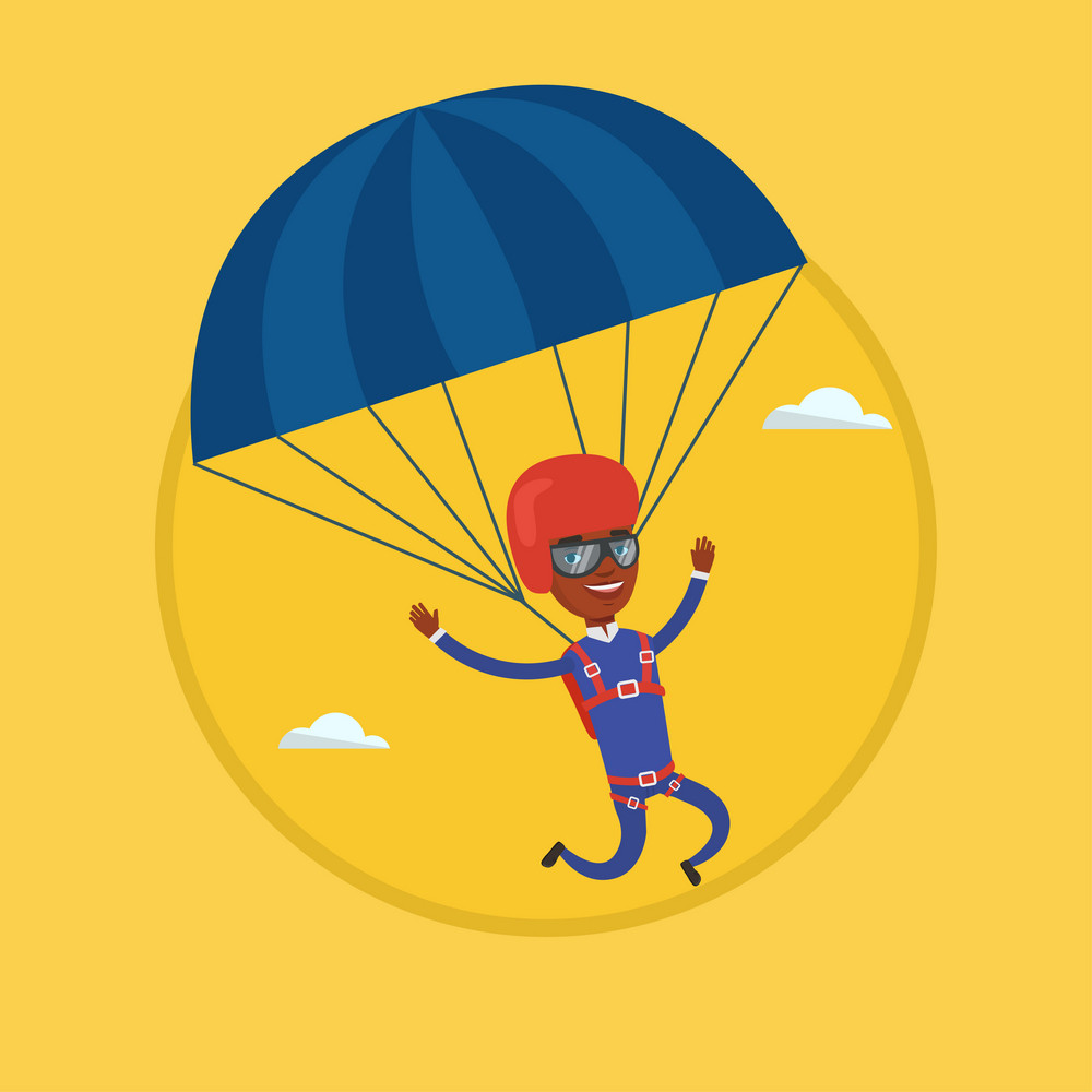 African-american man flying with a parachute. Man paragliding on a parachute. Professional parachutist descending with parachute. Vector flat design illustration in the circle isolated on background.