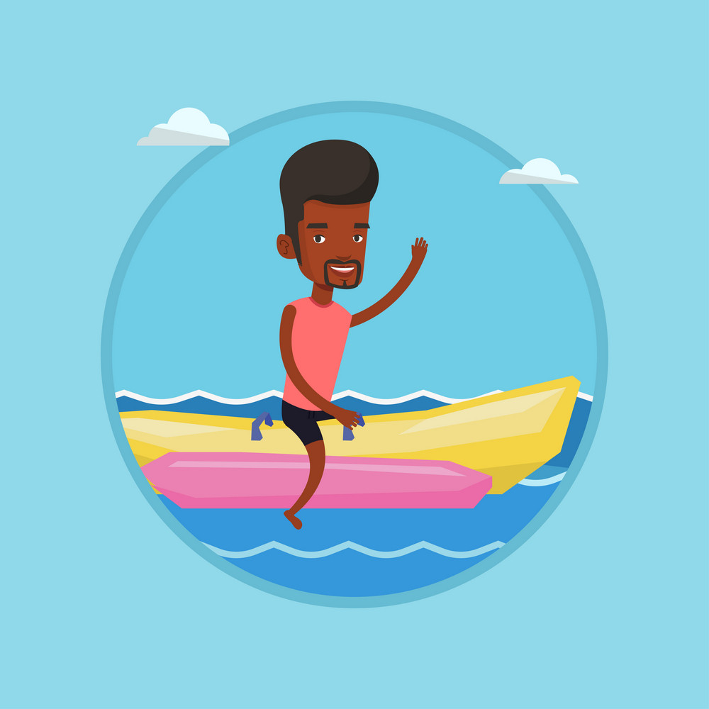 African-american man having fun on banana boat in sea. Tourists riding a banana boat and waving hand. Man enjoying summer vacation. Vector flat design illustration in the circle isolated on background