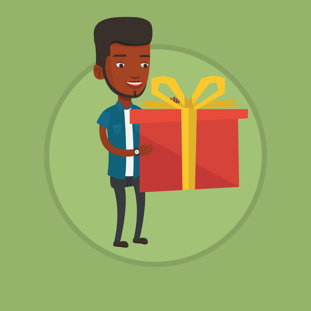 African-american man holding a box with gift in hands. Man holding gift box. Man standing with gift box. Guy buying a present. Vector flat design illustration in the circle isolated on background.