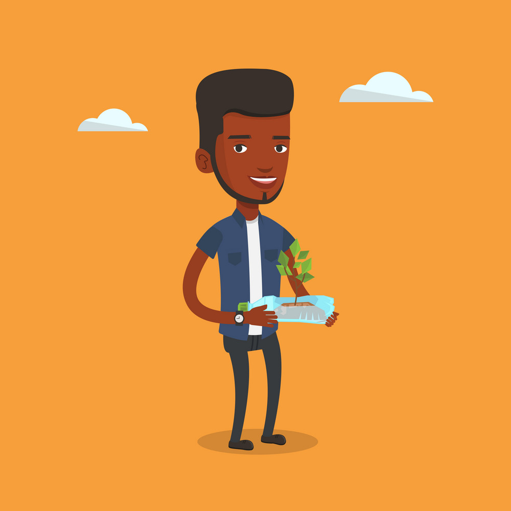 African-american man holding in hands plastic bottle with plant growing inside. Man holding plastic bottle used as plant pot. Plastic recycling concept. Vector flat design illustration. Square layout.
