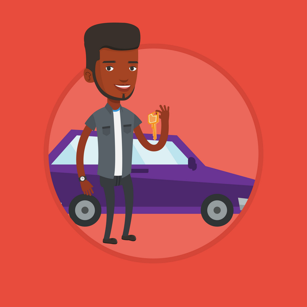African-american man holding keys to his new car. Happy man showing key to his new car. Man standing on the backgrond of new car. Vector flat design illustration in the circle isolated on background.
